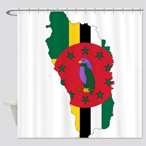 Dominica Flag and Map Shower Curtain