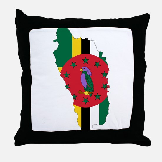 Dominica Flag and Map Throw Pillow