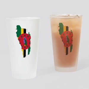 Dominica Flag and Map Drinking Glass