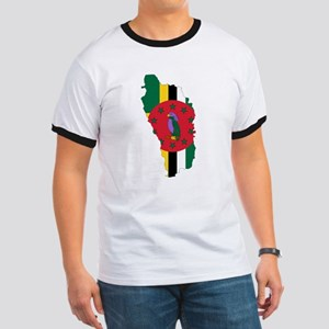 Dominica Flag and Map Ringer T