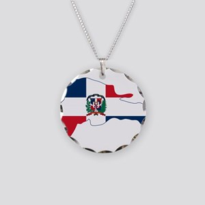 Dominican Republic Flag and Map Necklace Circle Ch