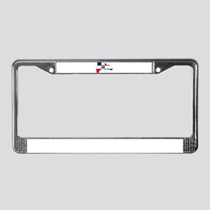 Dominican Republic Flag and Map License Plate Fram