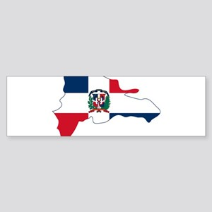Dominican Republic Flag and Map Sticker (Bumper)