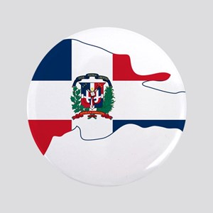 """Dominican Republic Flag and Map 3.5"""" Button"""