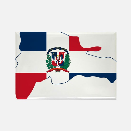 Dominican Republic Flag and Map Rectangle Magnet