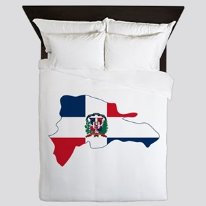 Dominican Republic Flag and Map Queen Duvet