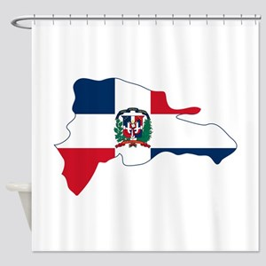 Dominican Republic Flag and Map Shower Curtain