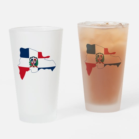 Dominican Republic Flag and Map Drinking Glass