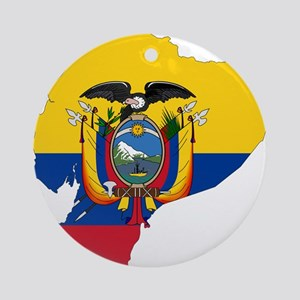 Ecuador Flag and Map Ornament (Round)