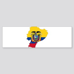 Ecuador Flag and Map Sticker (Bumper)