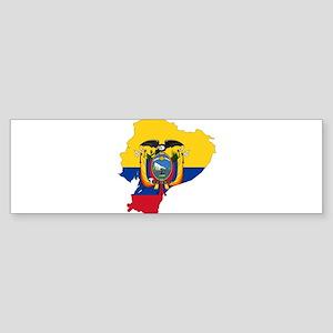 Ecuador Flag and Map Sticker (Bumper)
