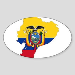 Ecuador Flag and Map Sticker (Oval)
