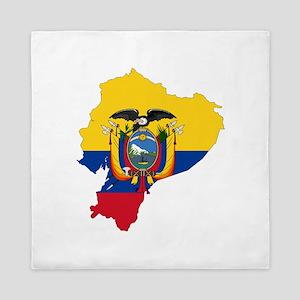 Ecuador Flag and Map Queen Duvet