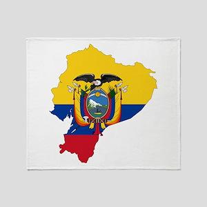 Ecuador Flag and Map Throw Blanket