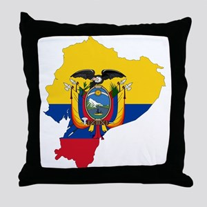 Ecuador Flag and Map Throw Pillow
