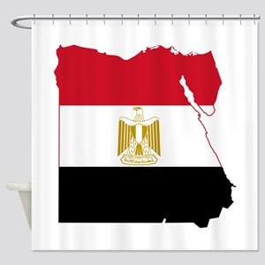 Egypt Flag and Map Shower Curtain
