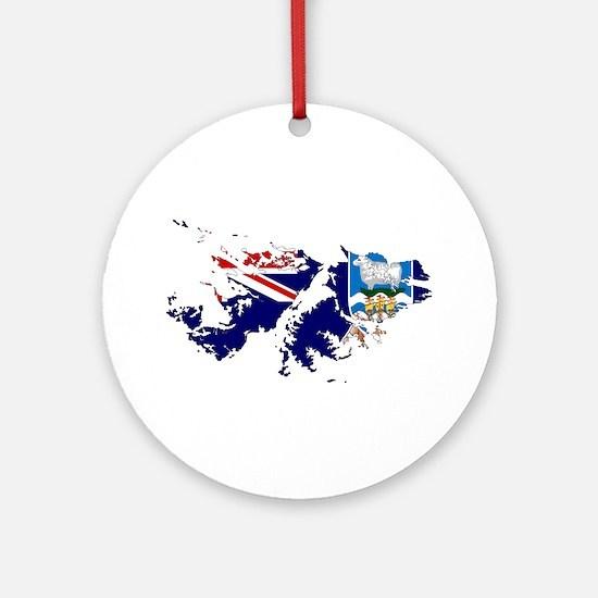 Falkland Islands Flag and Map Ornament (Round)