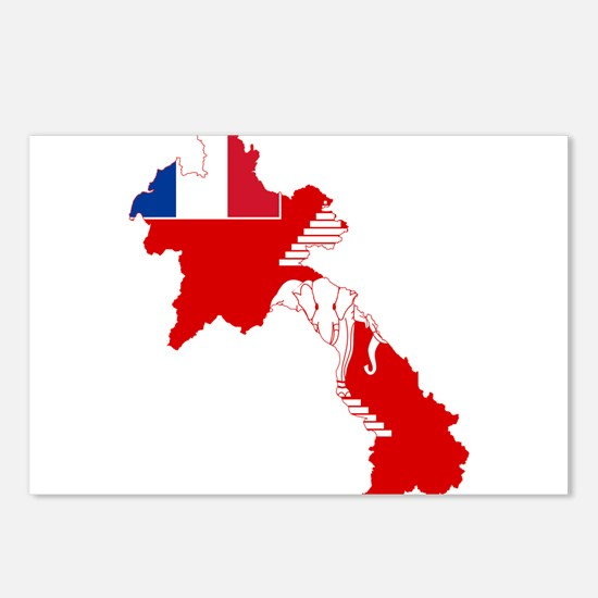 French Laos Flag and Map Postcards (Package of 8)