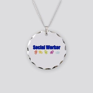 Social Worker Man Necklace Circle Charm