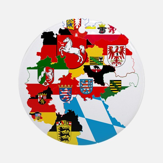 Germany Subdivisions Flag and Map Ornament (Round)