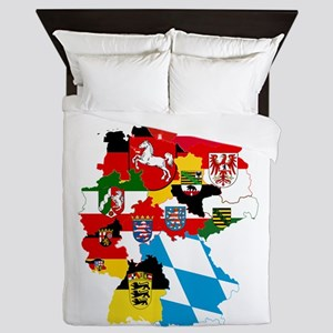 Germany Subdivisions Flag and Map Queen Duvet
