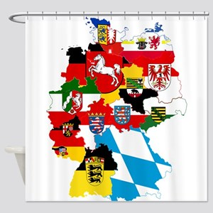Germany Subdivisions Flag and Map Shower Curtain
