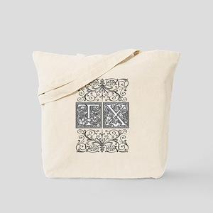 TX, initials, Tote Bag