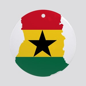 Ghana Flag and Map Ornament (Round)