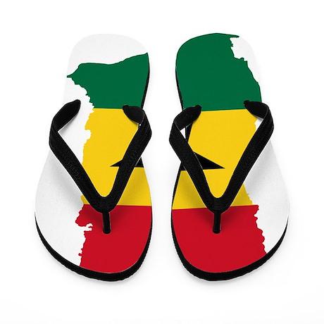 Ghana Flag and Map Flip Flops