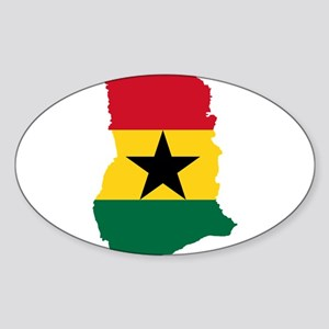 Ghana Flag and Map Sticker (Oval)