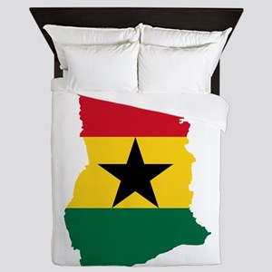 Ghana Flag and Map Queen Duvet