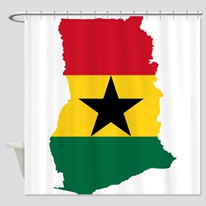 Ghana Flag and Map Shower Curtain