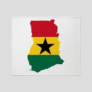 Ghana Flag and Map Throw Blanket