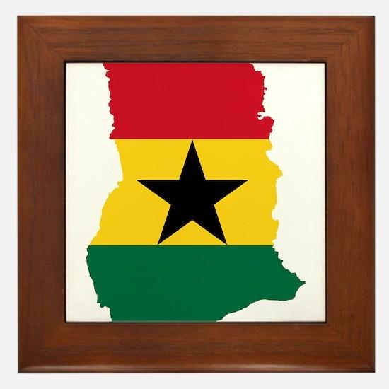 Ghana Flag and Map Framed Tile