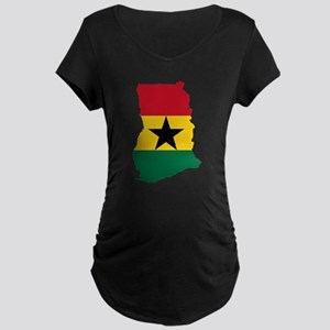 Ghana Flag and Map Maternity Dark T-Shirt