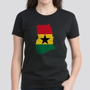 Ghana Flag and Map Women's Dark T-Shirt
