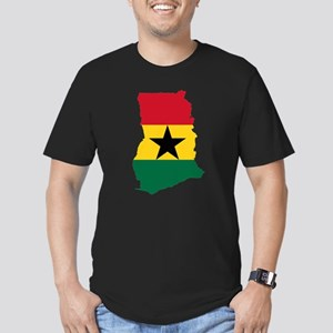 Ghana Flag and Map Men's Fitted T-Shirt (dark)