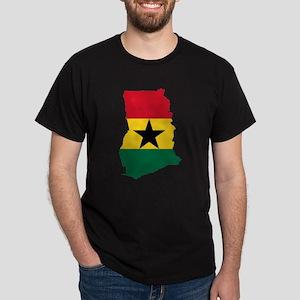 Ghana Flag and Map Dark T-Shirt