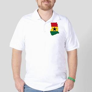 Ghana Flag and Map Golf Shirt