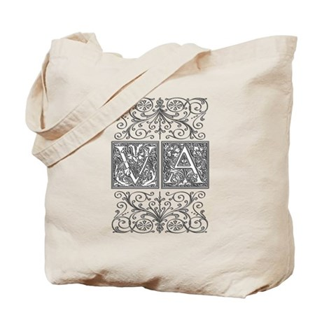 VA, initials, Tote Bag