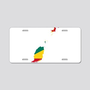 Grenada Flag and Map Aluminum License Plate
