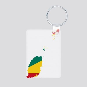 Grenada Flag and Map Aluminum Photo Keychain
