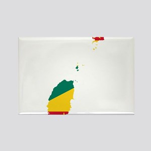 Grenada Flag and Map Rectangle Magnet