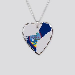 Guam Flag and Map Necklace Heart Charm