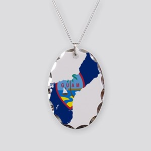 Guam Flag and Map Necklace Oval Charm