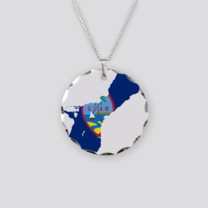 Guam Flag and Map Necklace Circle Charm
