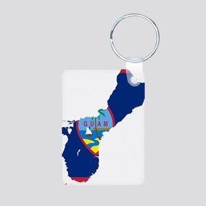 Guam Flag and Map Aluminum Photo Keychain