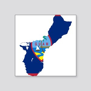"Guam Flag and Map Square Sticker 3"" x 3"""