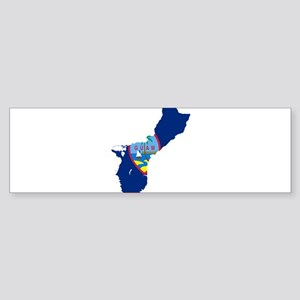 Guam Flag and Map Sticker (Bumper)