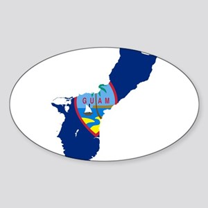 Guam Flag and Map Sticker (Oval)